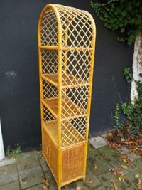Vintage Boho Bamboe Riet Rotan Boekenkast