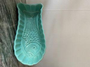 Vissschaal Turquoise Keramiek Genummerd