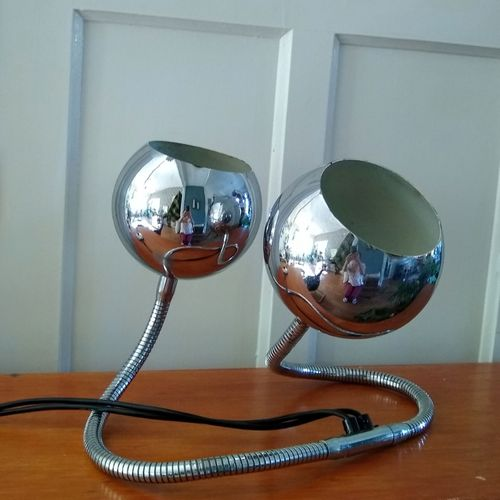 Vintage Space Age Chrome Snake Lamp, By Goffredo Reggiani