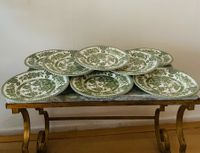 Set Van 9 Indian Tree England Groen Schotels Bloemen Vintage Regency