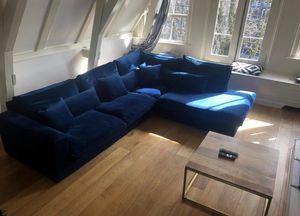 Blauwe Velvet Hoekbank