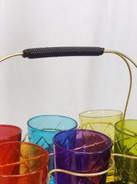 Set Van 6 Gekleurde Glazen Incl Gouden Rekje
