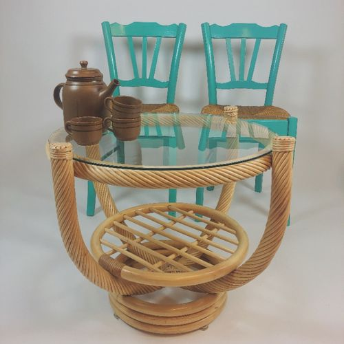 Ronde Salontafel Bamboe Met Glasplaat