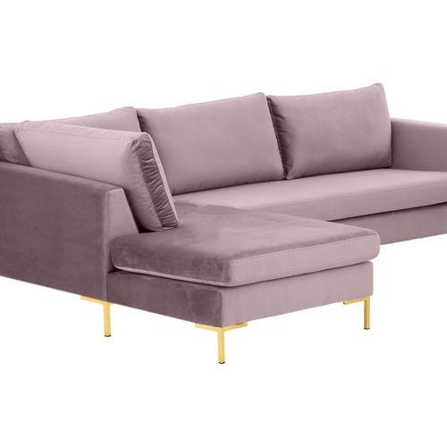 Velvet Roze Hoekbank Met Gouden Details